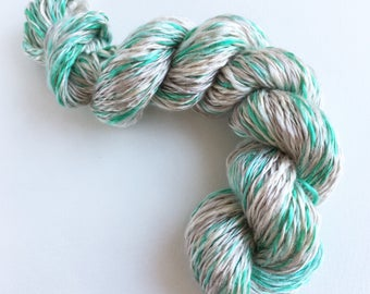 Keep Your Eyes on This One hand spun vegan yarn 65g / 85m. 100% tencel, shiny soft hand dyed 2ply luxury yarn. Aran weight.