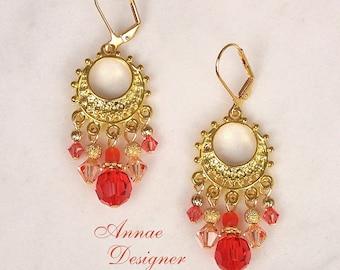 crystal chandelier earrings, orange, peach, Swarovski crystal