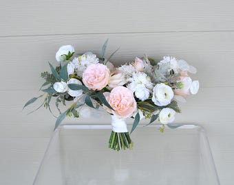 Silk Wedding Bouquet | Cream and Light Peach | Forever Fresh Keepsake Fake Flower Bouquet | SG-1063