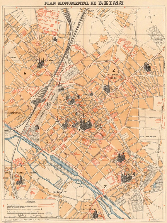 Reims map Monumental map of Reims fine giclee print