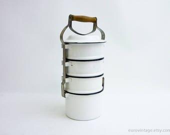 Vintage Nesting Pot Set Enamel Bowls Picnic Set Camping White Enamelled
