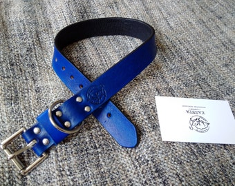 Leather Dog Collar, Leather Dog Collars, Soft Dog Collars, pet gift 'Double Leather Collar'- 'LightBlue'