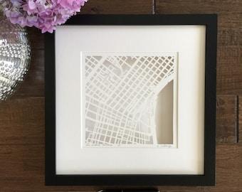 New Orleans Hand Cut Map ORIGINAL