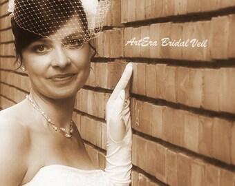Full birdcage bridal veil, vintage bridal veil, monumental bridal headdress,  Wedding accessory, Russian/French white, ivory