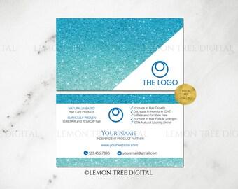 Blue|Glitter|Ombre|Monat Business Card|Monat Global|Hair Salon Business Cards