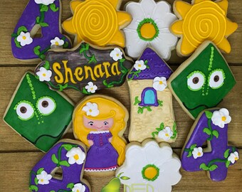 Rapunzel Birthday Party Favor Personalized Cookies