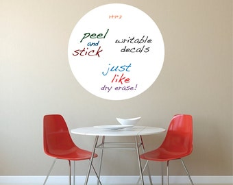 Round Dry Erase Wall Decal, Writable Wall Decal Stickers - Removable Whiteboard Decals - Kindergarten Wall Decals - Whiteboard Decals, s68