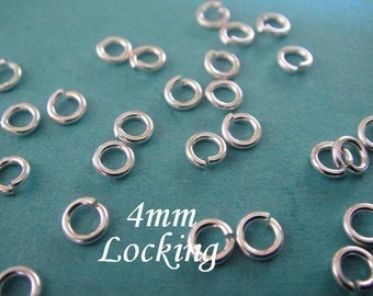 4mm 20 gauge ga g, Sterling Silver Locking Jump Rings, aka Jump LOCKS