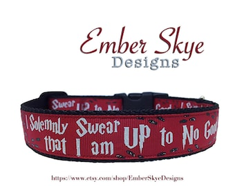 """Harry Potter """"I Solemnly Swear That I Am Up To No Good"""" Red Adjustable Dog Collar 1"""" Wide"""