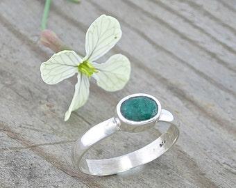 Sterling Silver Emerald Ring, Silver Emerald Ring, Emerald Ring, Emerald Ring Silver, May Birthstone, Dainty Silver Ring, Gemstone Ring