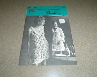 Crochet Patterns, Retro Dress and Coat, Size 12, 14, or 16, 18, Mini or Regular Length, Crocheted Ensemble, Beehive Patons