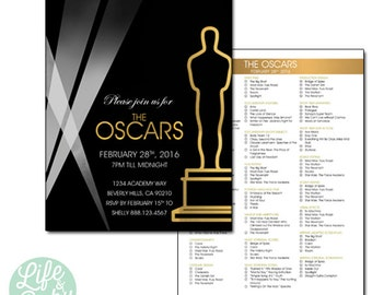 Oscar Party Invitation | Oscar Invitation | Academy Awards Invitation | The Oscars Invitation - 5x7 with Oscar Ballot reverse side