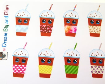 Kawaii Iced Coffee Planner Stickers! DBP192