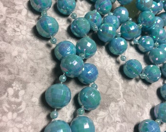 "Vintage 52"" Long Single Strand Light Blue Faceted Plastic Beaded Necklace"