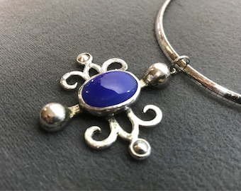 Bold Handmade Sterling Silver Pendant with Blue Stone, on Omega Chain. Free shipping.