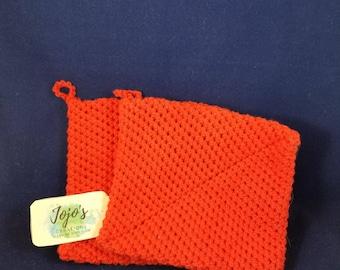 Hot pads, crochet hot pads, red, pot holders, handmade, housewarming gift