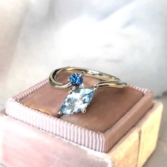 Aquamarine and Blue Sapphire Side by Side Ring 14k