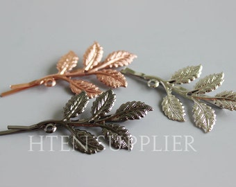 10pcs Rose gold Silver Antique Bronze Leaves Bobby Pins