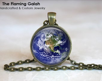 PLANET EARTH Pendant • Earth from Space •World Globe • Picture of Earth • The Universe • Gift Under 20 • Made in Australia (P0294)