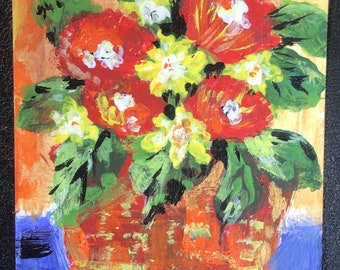 ACEO Original flower basket acrylic painting ,  artcard