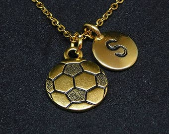 Golden Soccer ball with Initial necklace, initial charm, personalized jewelry, soccer necklace, soccer pendant, soccer charm
