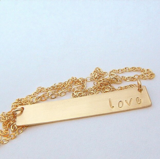 Gold bar necklace name necklace personalized gold jewelry zoom aloadofball Gallery