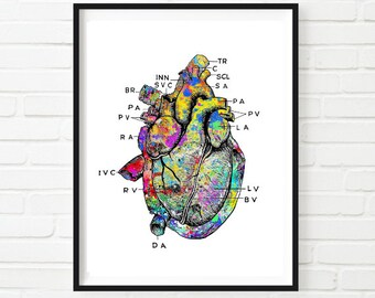 Heart Print, Printable Vintage Heart Art Print, Heart Art, Medical art print, Heart Poster, Anatomy Poster, Vintage Medical Poster, Doctor