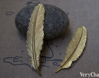 10 pcs of Gold Color Brass Feather  12x53mm A3109