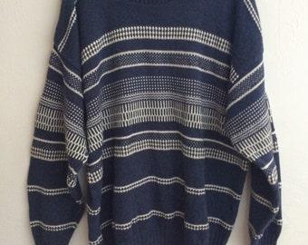 Jantzen Sweater Mens Large, Vintage 70s Hipster blue Ski crewneck winter sweater pullover sweater jumper retro ski (STA)