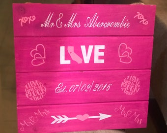 Mr & Mrs Est Date Love With California Wood Sign