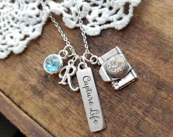 Gift for photographer, personalized camera necklace, silver camera jewelry, capture life necklace, gift for new photography business owner