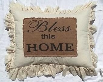 Pillow Slip Cover Pillow Sham  Burlap Muslin Pillow Sham PILLOW CASE w/ Bless this HOME