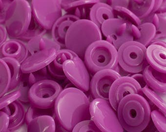 10 snaps lilac heart size 12.4 mm