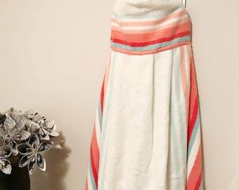 Hooded Baby Towel (Coral Stripe)