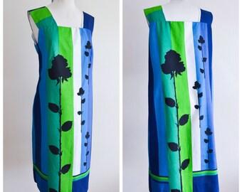 1960s Blue stripe rose print sheath dress / 60s loose fit summer dress - M L