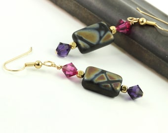 Black Mosaic Earrings Fuchsia Pink Purple Crystal Gold Mod Fall Fashion Jewelry