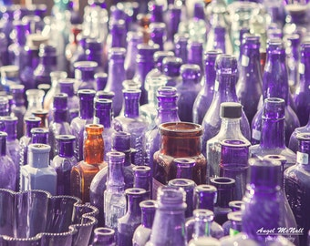 Antique bottles, purple glass, vintage, flea market, medicine bottles, purple wall art, still life photography, fine art print