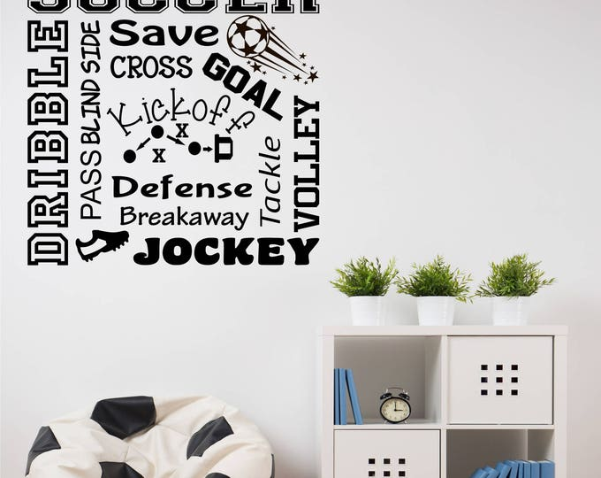Soccer Word Art 2 Soccer Wall Decal for Boys Room