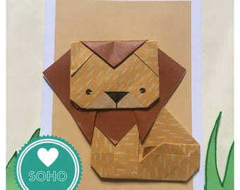 Origami Blank Greetings Card - Lion