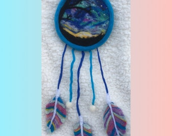 Needle Felted Night Sky Dream Catcher Wall Hanging Decoration Nursery Decor Home Decor