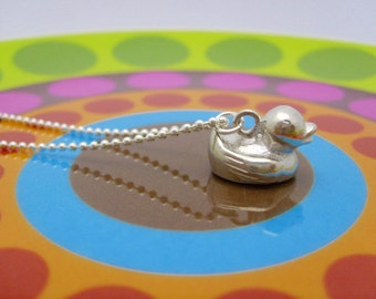 rubber ducky sterling necklace