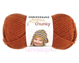 PUMPKIN Bernat Softee Chunky Yarn. It's a thick Orange Super Bulky yarn that works up quick for knit or crochet. Solid Orange Acrylic Yarn