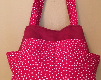 Katrina#1855, Red and White Polka Dot Tote, Red and White Polka Dot Knitting Bag, Knitting Project Bag, Knitting Bag, Project Tote, Projects