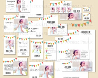 Bunting Marketing Kit Photoshop Templates for Photographers Photography Business, Boutiques & Small Business Branding, Premade Set 17008