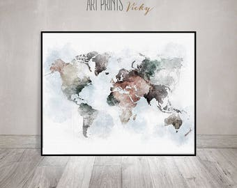 World map wall art, large world map poster, travel gift, world map conteporary art, travel decor, ArtPrintsVicky