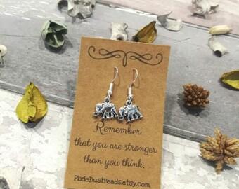 Elephant Earrings, Silver Elephant Dangle Earrings, Drop Earrings, Elephant Jewellery, Dangle Earrings, Elephant Jewelry, Elephant Strength,