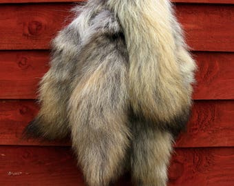 Amazing real coyote fur tail lucky charm keyring, natural colours, CT02