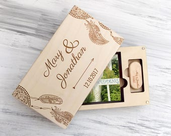 Gift for Couple - Wedding Photo Box - Rustic Wedding - 5th Anniversary Gift - Valentine Gift - Feather Gift - Gift for Her - Boho Gift