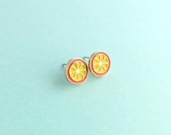 Orange Earrings,Orange Slice Earrings,Fruit Earring,Fruit Slice Earring,Fruit Studs,Orange Studs, Orange Studs,Kawaii Studs,Kawaii Earrings