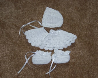 Baby Girl's White Crocheted Cape, Hat, and Booties -- FREE SHIPPING